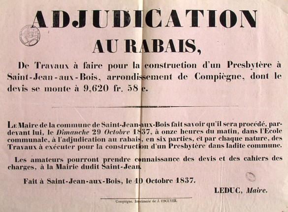 1837-Affiche de l'adjudication