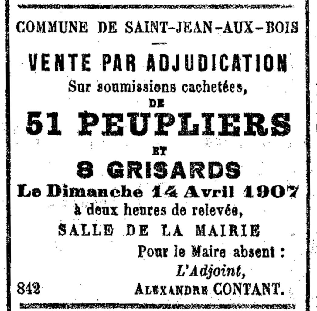 Annonce parue dans le Progrès de l'Oise du mercredi 27 mars 1907