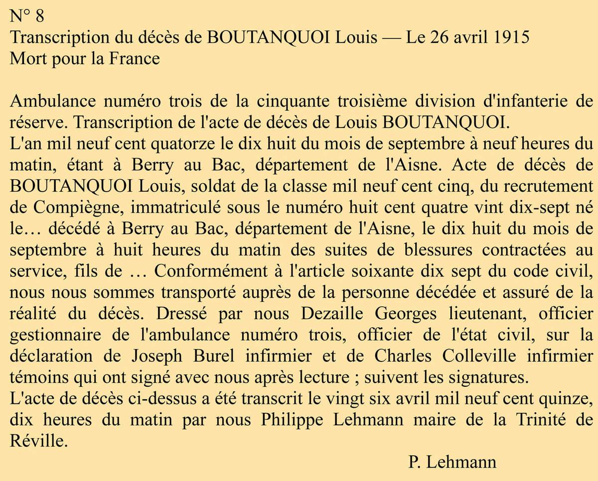 Décès de Louis BOUTANQUOI