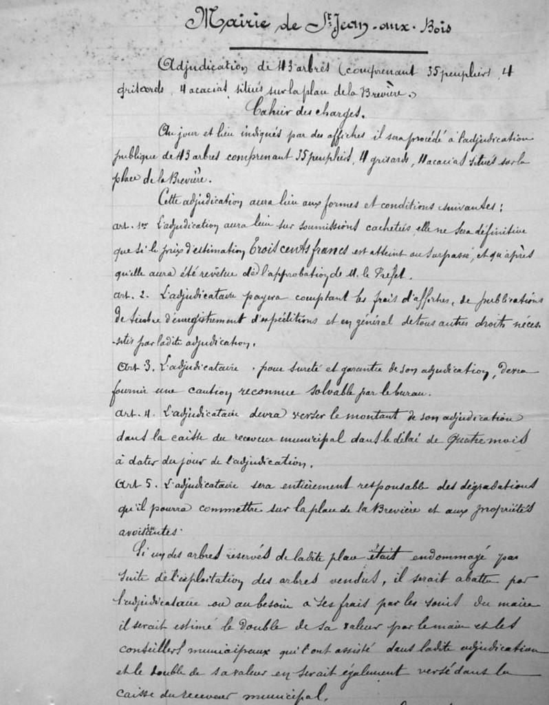 Extrait du cahier des charges approuvé par le préfet le 4 janvier 1897