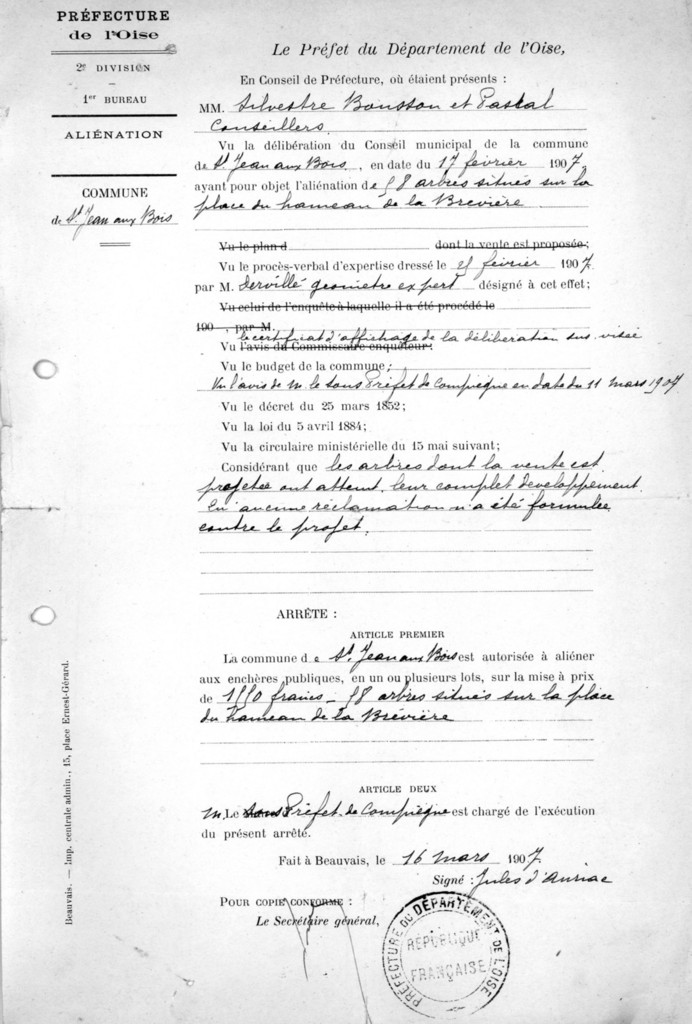 Arrêté du Préfet en date du 16 mars 1907