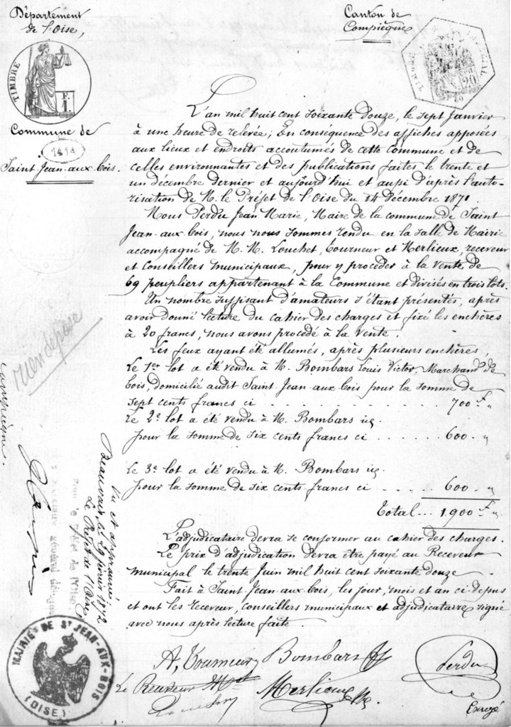 Adjudication du 7 janvier 1872