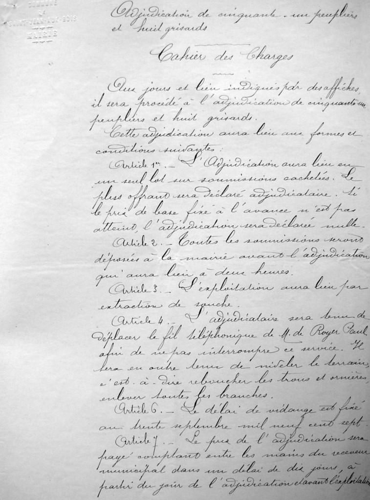 Extrait du cahier des charges en vue de l'adjudication approuvé par le préfet le 16 mars 1907.