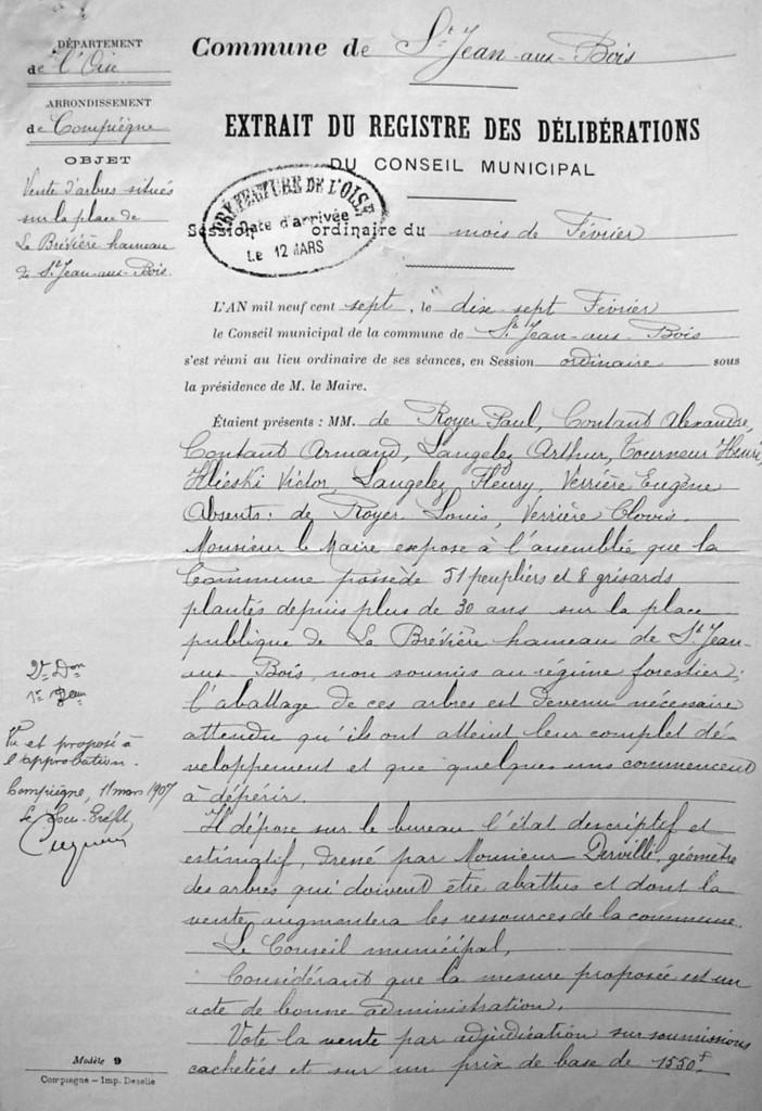 Extrait de la délibération du 17 février 1907