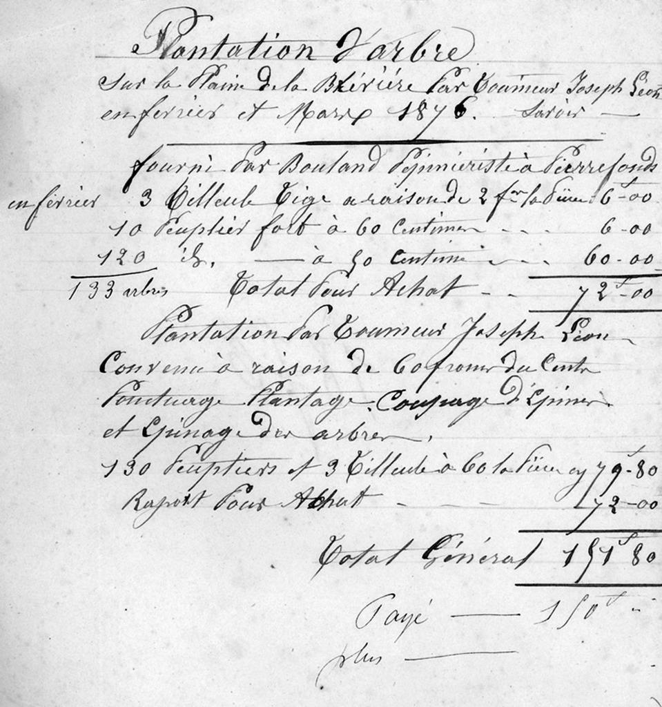 50 francs inscrits au budget 1875 et 100 francs à celui de 1876