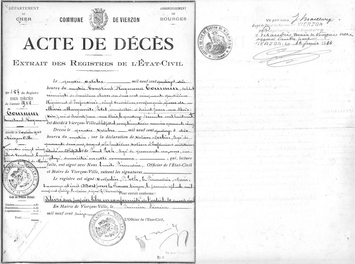 Acte de décès sur les registres de l'état civil de Vierzon