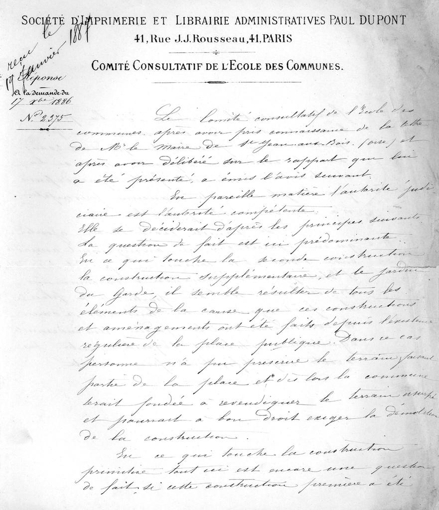 Lettre de l'école des communes (extraits); Archives communales 4 D 3