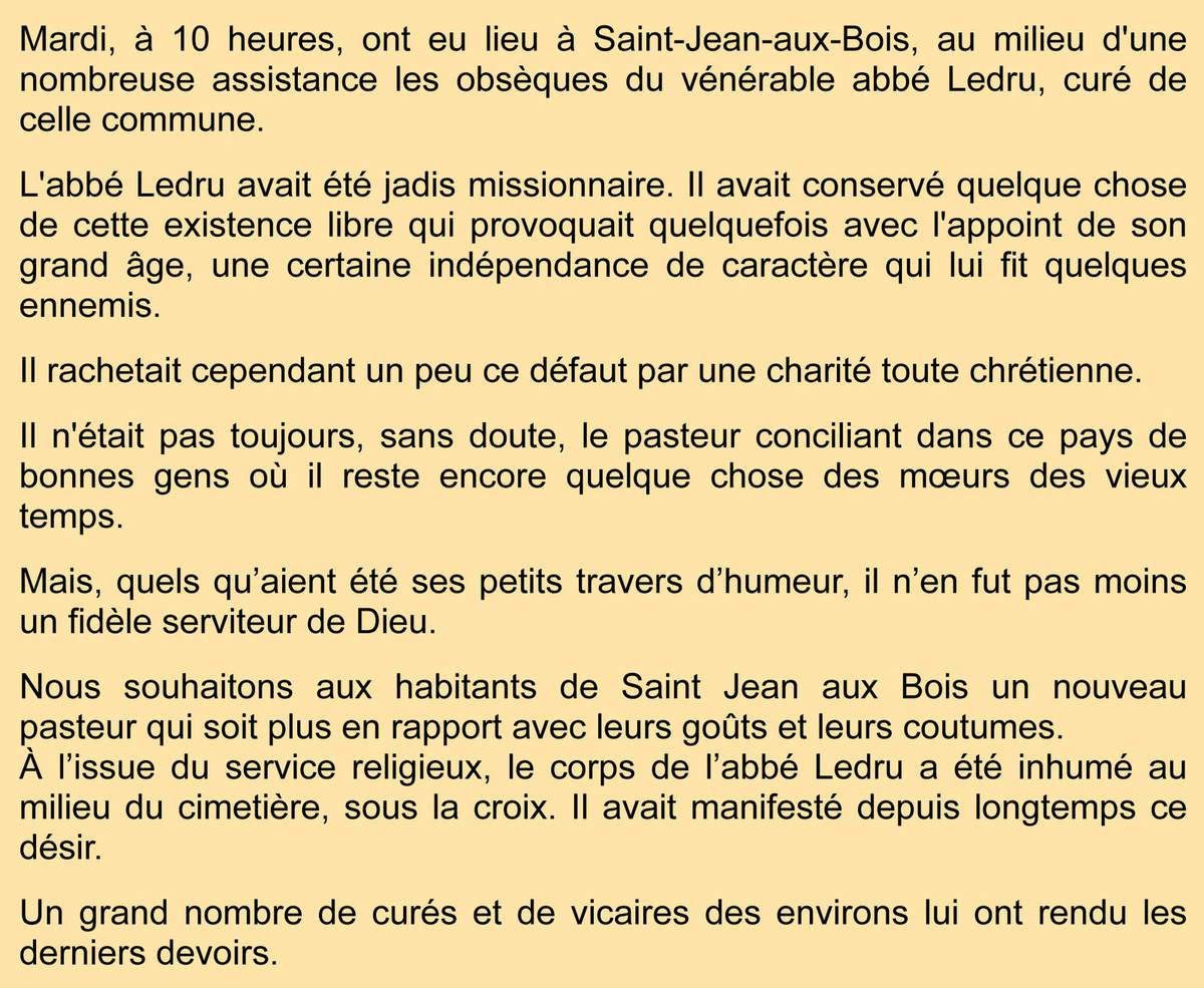 Au sujet du curé Ledru