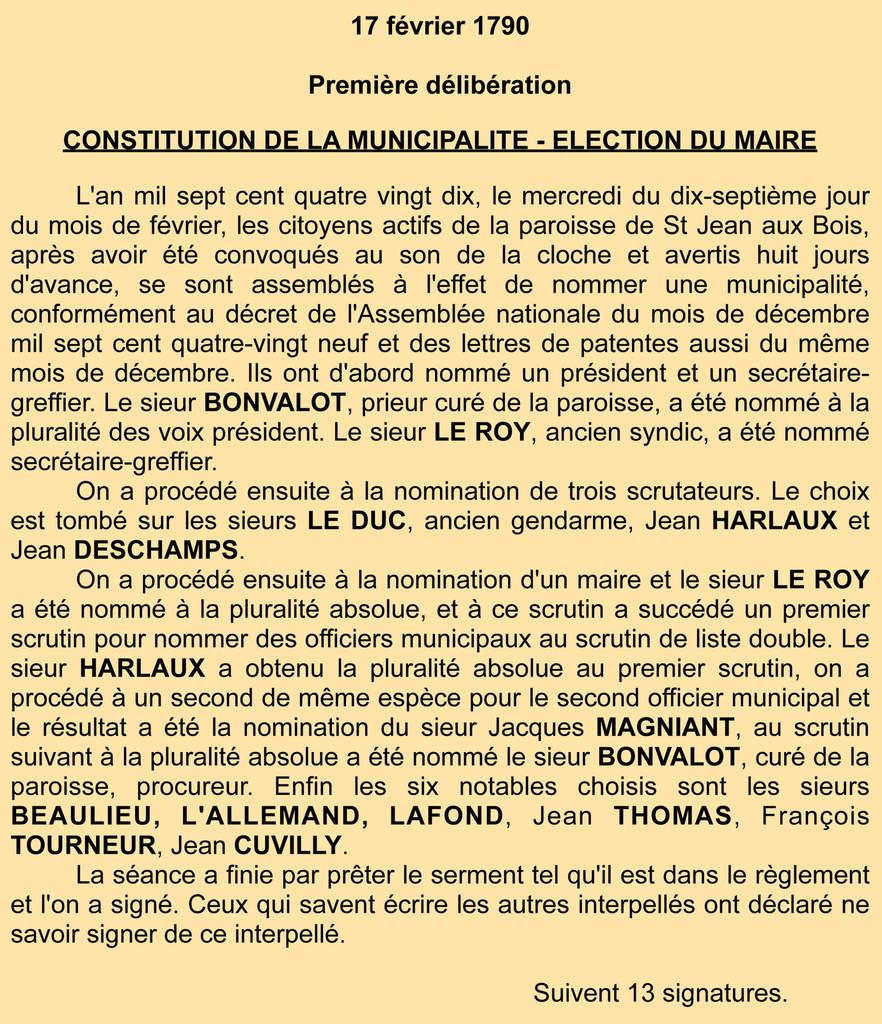 Les maires de Saint-Jean-aux-Bois