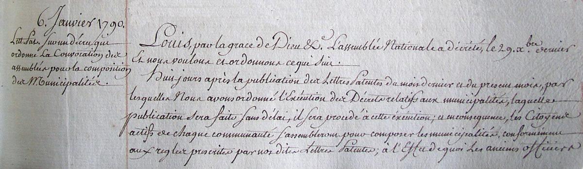 Entête de la lettre patente sur un décret qui ordonne la convocation des assemblées pour la composition des municipalités (Archives départementales 2Lp5019)