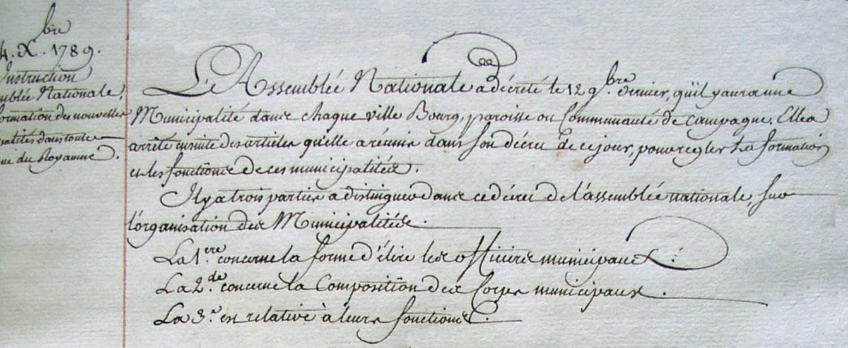 Instruction de l'assemblée nationale (Extrait - Archives départementales 2Lp5019)