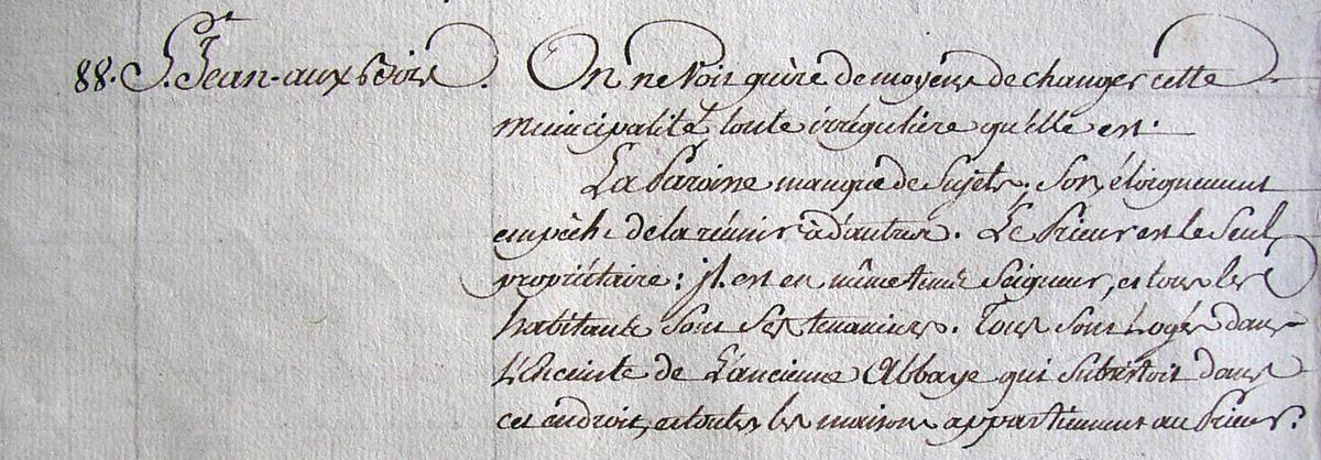Archives départementales de l'Oise 1Cp324 (extrait) Classement municipal : période révolutionnaire précédent 1789.