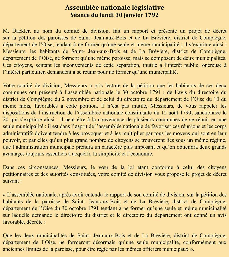 Archives parlementaires 1ère série, tome XXXVIII, séance du 30 janvier 1792, page 35.