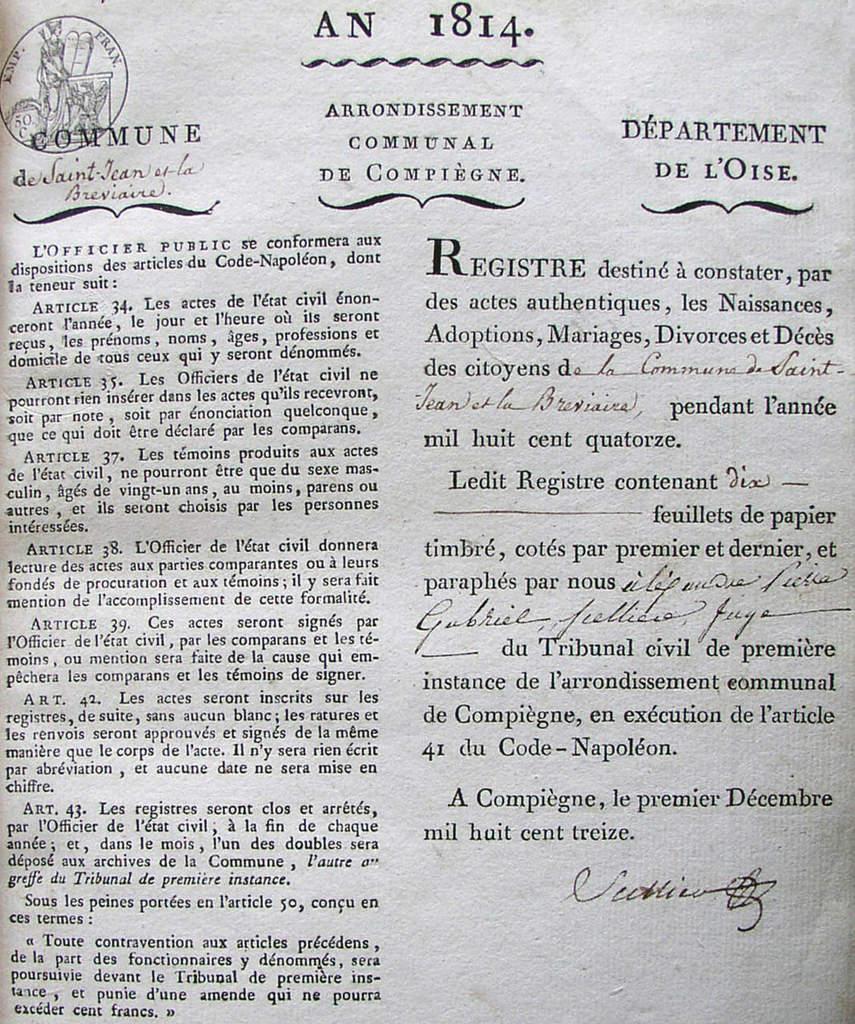 """Page de garde du registre """"Saint Jean et la Bréviaire"""" (orthographe de La Brévière avec ai)"""