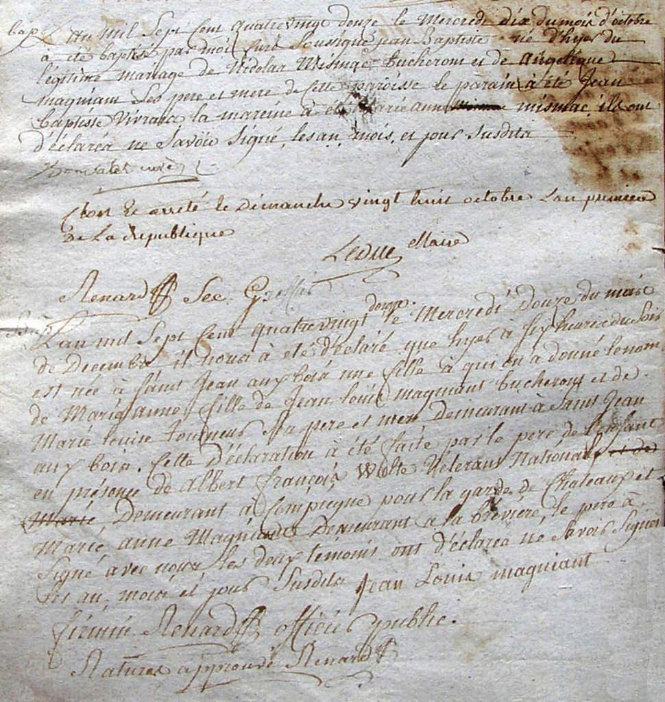 """Après la signature de Bonvalot curé nous lisons """"Clos et arrêté le dimanche vingt huit octobre l'an premier de la République"""" Signé par Leduc Maire et Renard Secrétaire greffier."""
