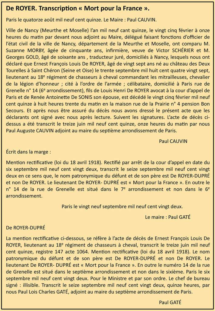 Transcription de son décès sur le registre d'état civil de Paris VIIe arrondissement.