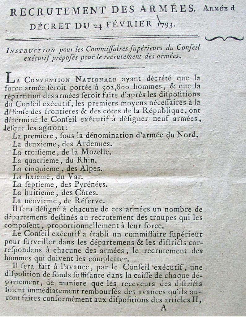 Décret du 24 février 1793 (extraits archives départementales de l'Oise 2Lp5003)