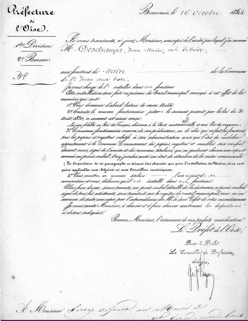 Lettre du préfet à Leroy. Archives communales Série K élections.