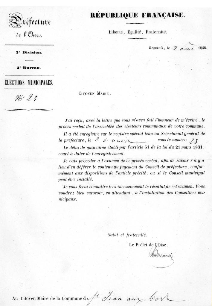 Lettre du préfet du 2 août. Archives communales Série K élections.