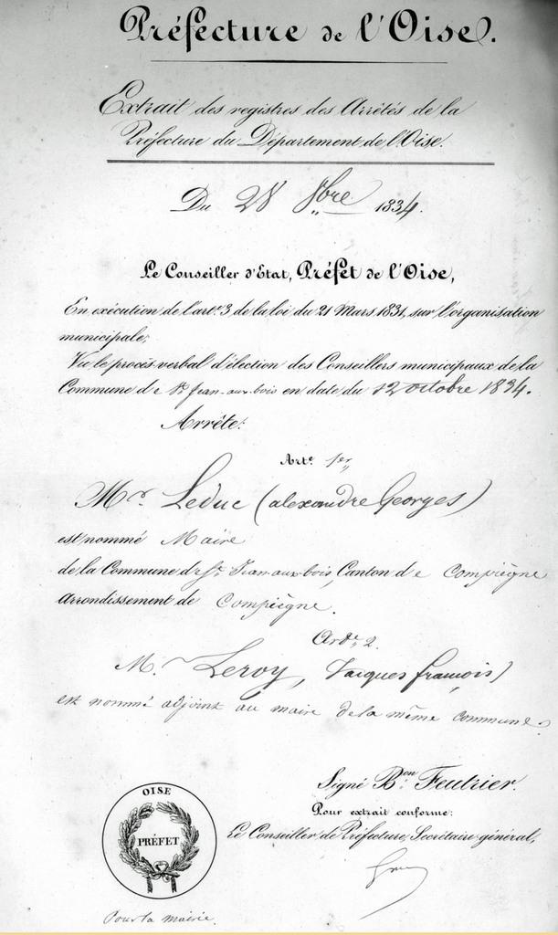 Nomination du maire. Archives communales Série K élections.