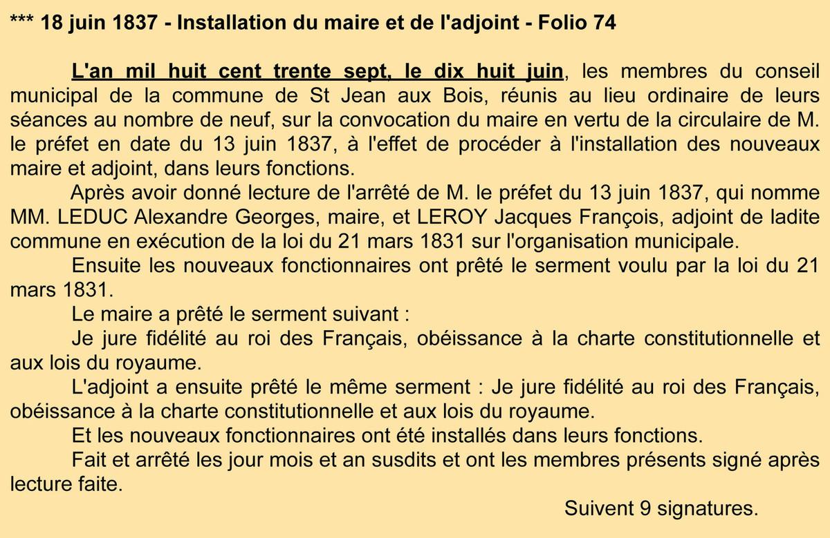 P.V. Installation du maire. Registre des délibérations 1D4.