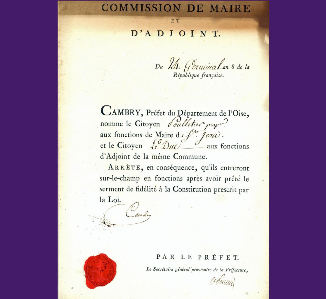 Nomination de Poulletier Archives communales – 1 K 8 élections communales