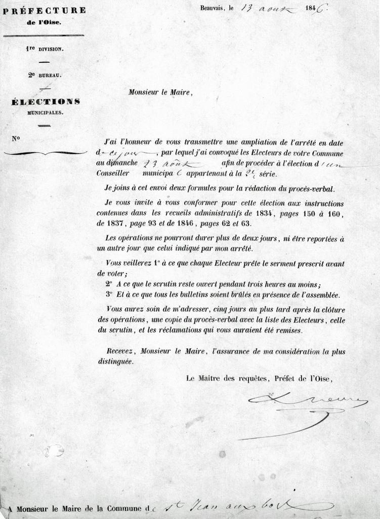 Ampliation de l'arrêté. Archives communales Série K élections.