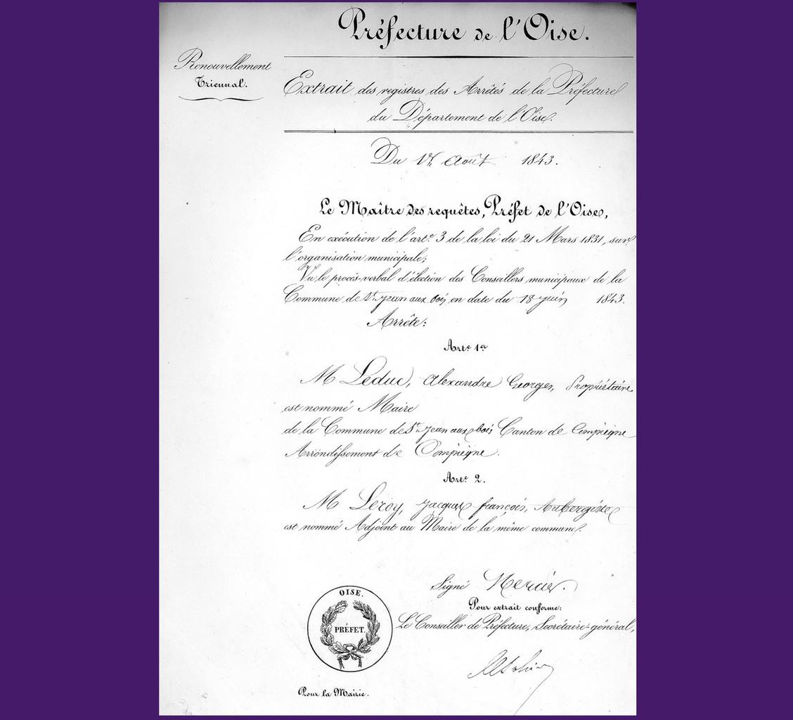 Nomination de Leduc et Leroy. Archives communales Série K élections.
