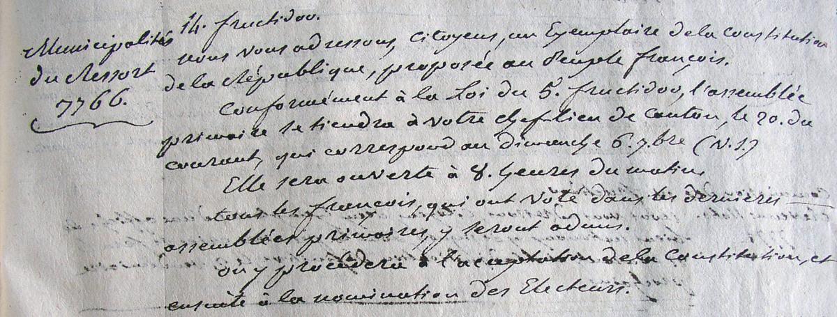 Extrait de la lettre du conseil de district de Compiègne aux municipalités. Archives départementales 2Lp5024