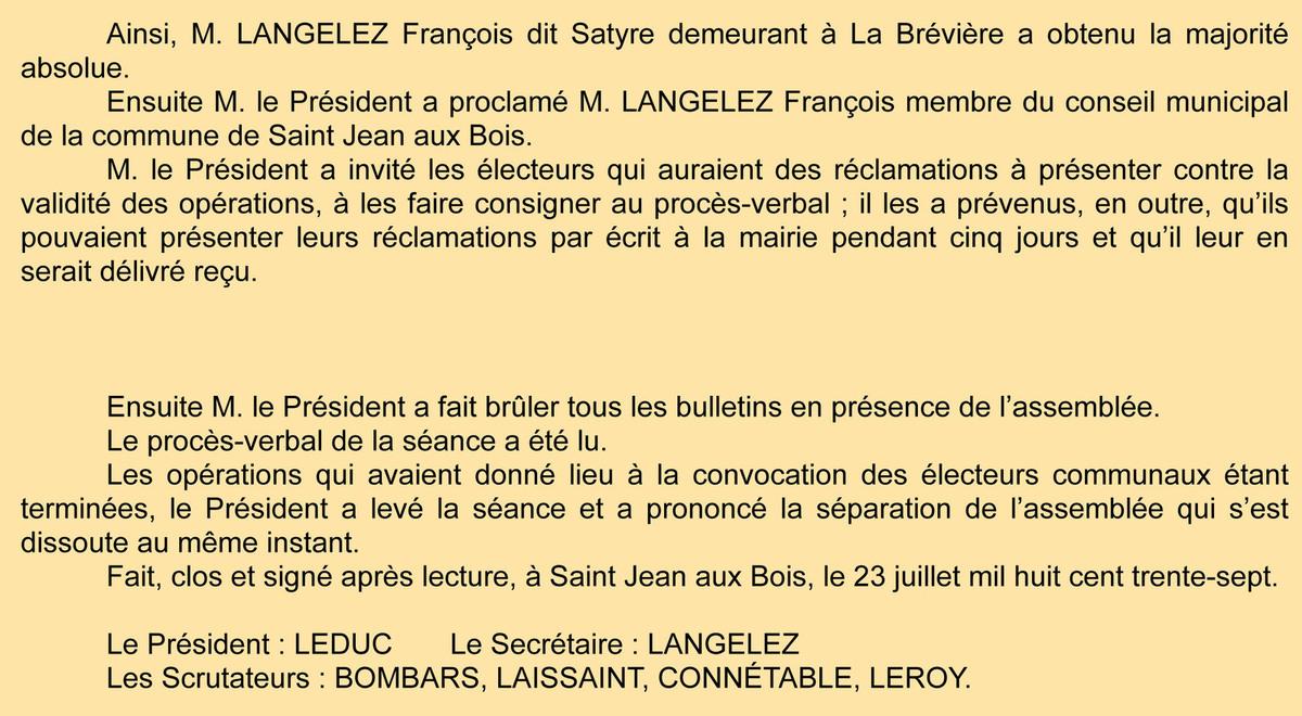 P.V. de l'élection de Langelez. Registre des délibérations 1D4.