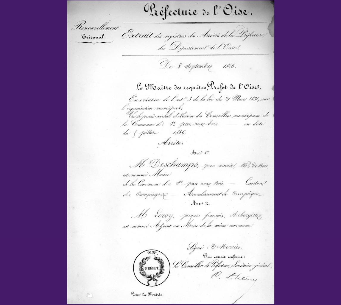 Confirmation de Deschamps et Leroy. Archives communales Série K élections.