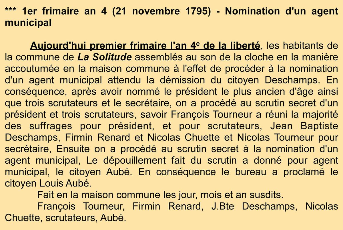 Troisième nomination Archives communales - Registre de délibérations 1 D 3