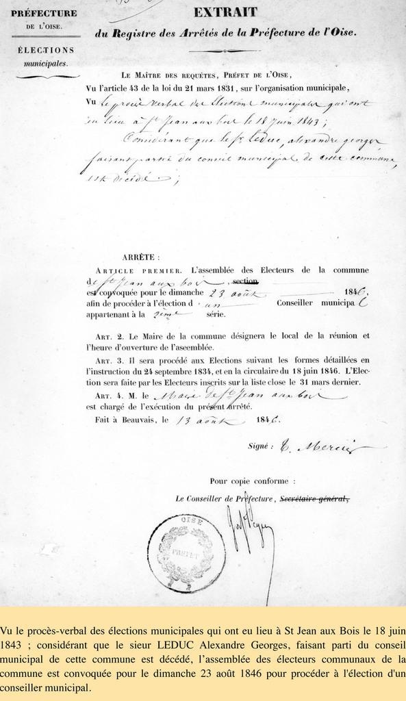 Arrêté du 13 août 1846. Archives communales Série K élections.