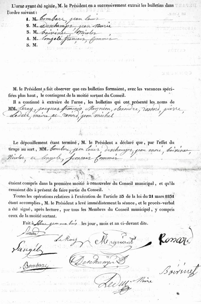 Procès-verbal du 28 sep. 1834. Archives communales Série K élections.