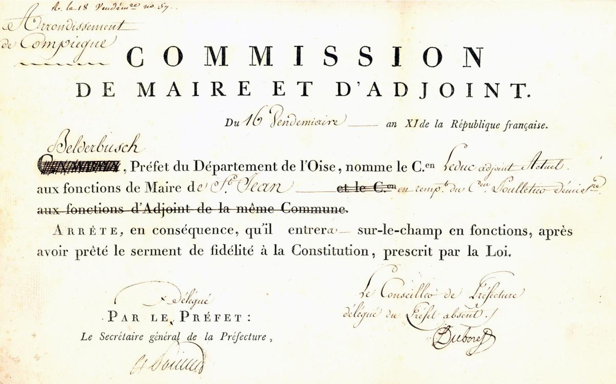 Nomination de Leduc. Archives communales Série K élections.