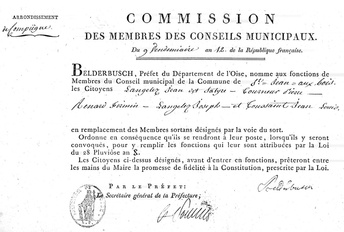 Commission des membres du conseil. Archives communales Série K élections.