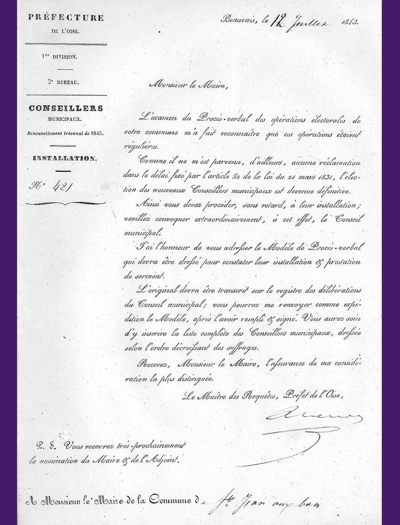 Lettre du préfet du 12 juillet 1843. Archives communales Série K élections.