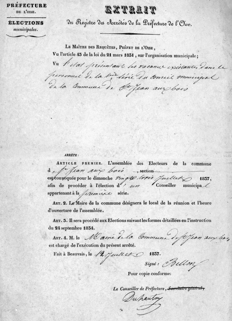 Arrêté du préfet. Archives communales Série K élections.