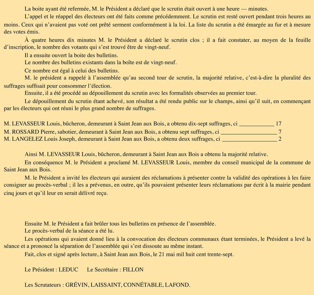P.V. du 21 mai 1837. Registre des délibérations 1D4