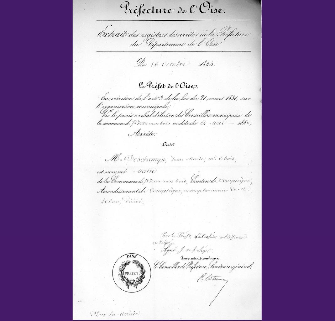 Nomination de Deschamps. Archives communales Série K élections.