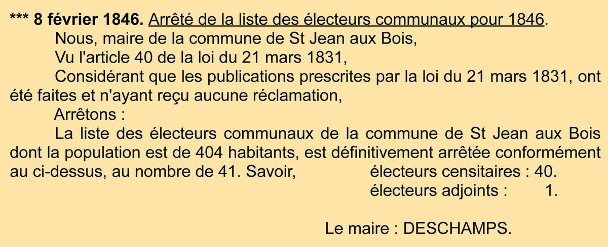 Liste des électeurs de 1846. Registre des délibérations 1D5.