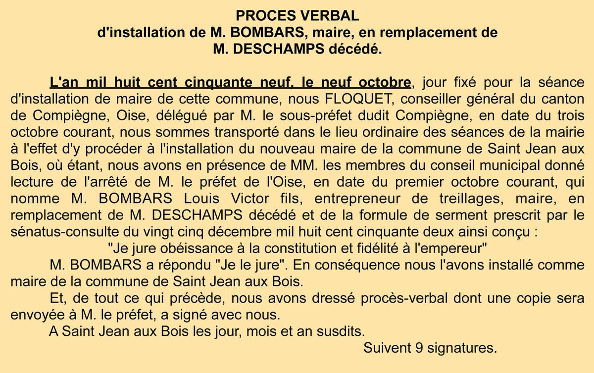 P.V. de l'installation de Bombars - Registre de délibérations 1 D 5