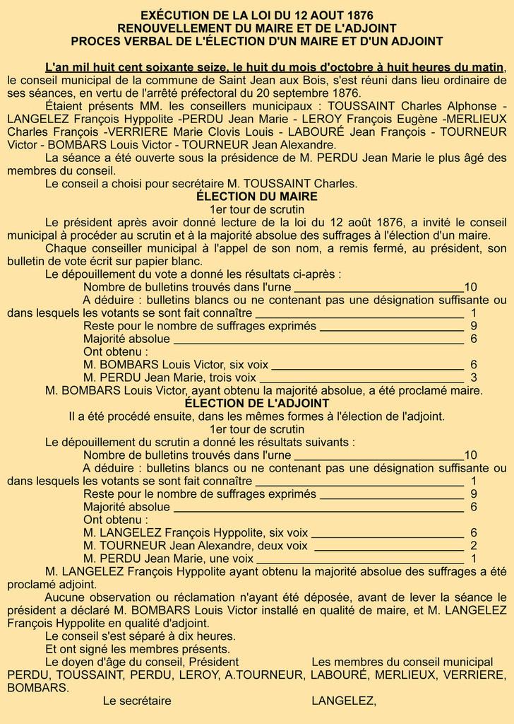 Election du maire. Registre des délibérations 1D 6