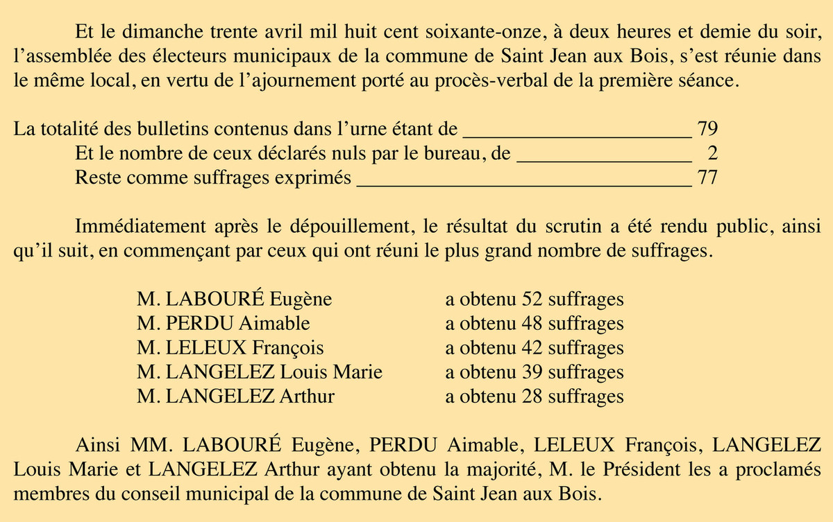 P.V. élections 1871 (2ème tour) - Registre de délibérations 1 D 6