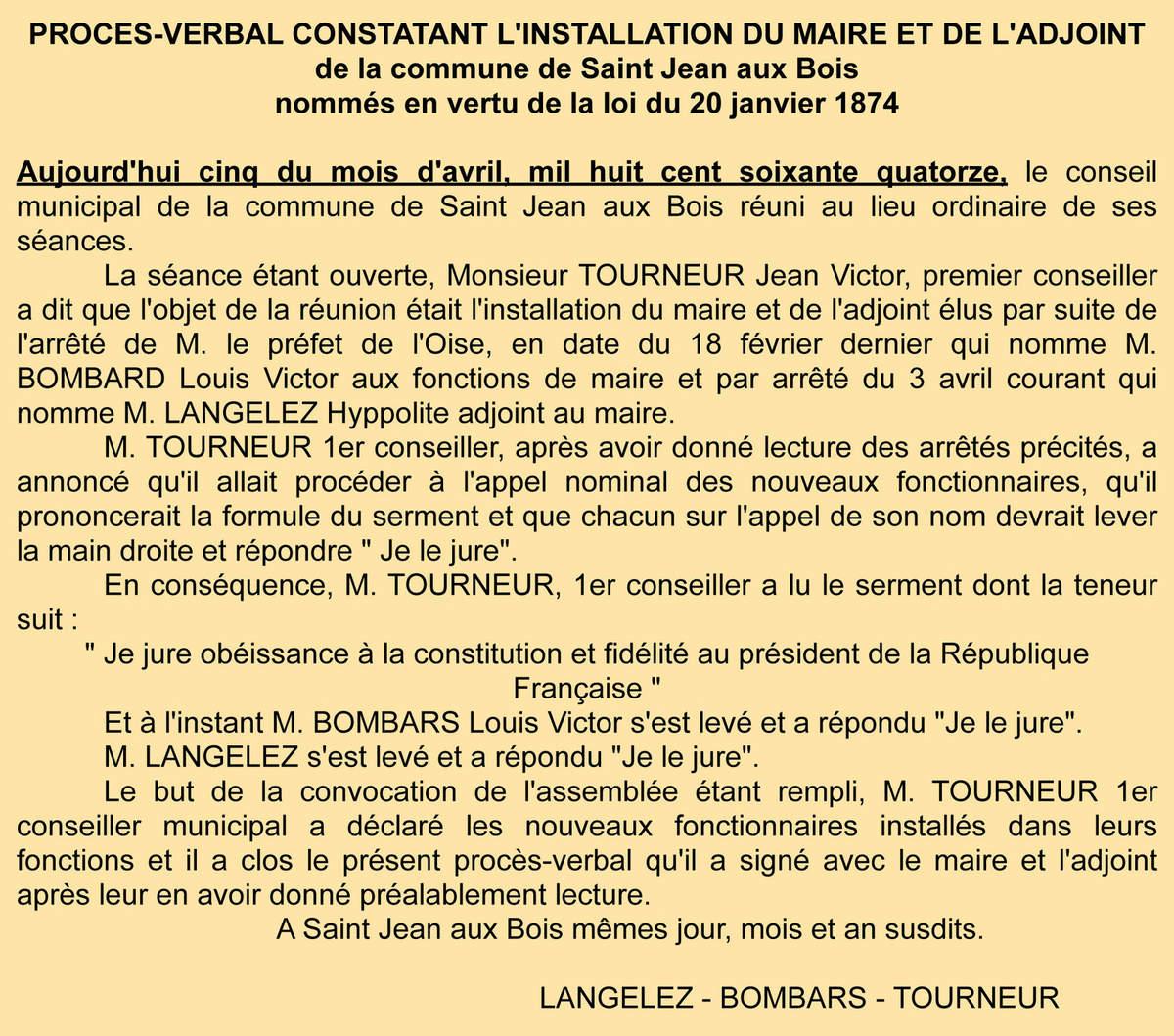 P.V. de la mise en place du maire - Registre de délibérations 1 D 6