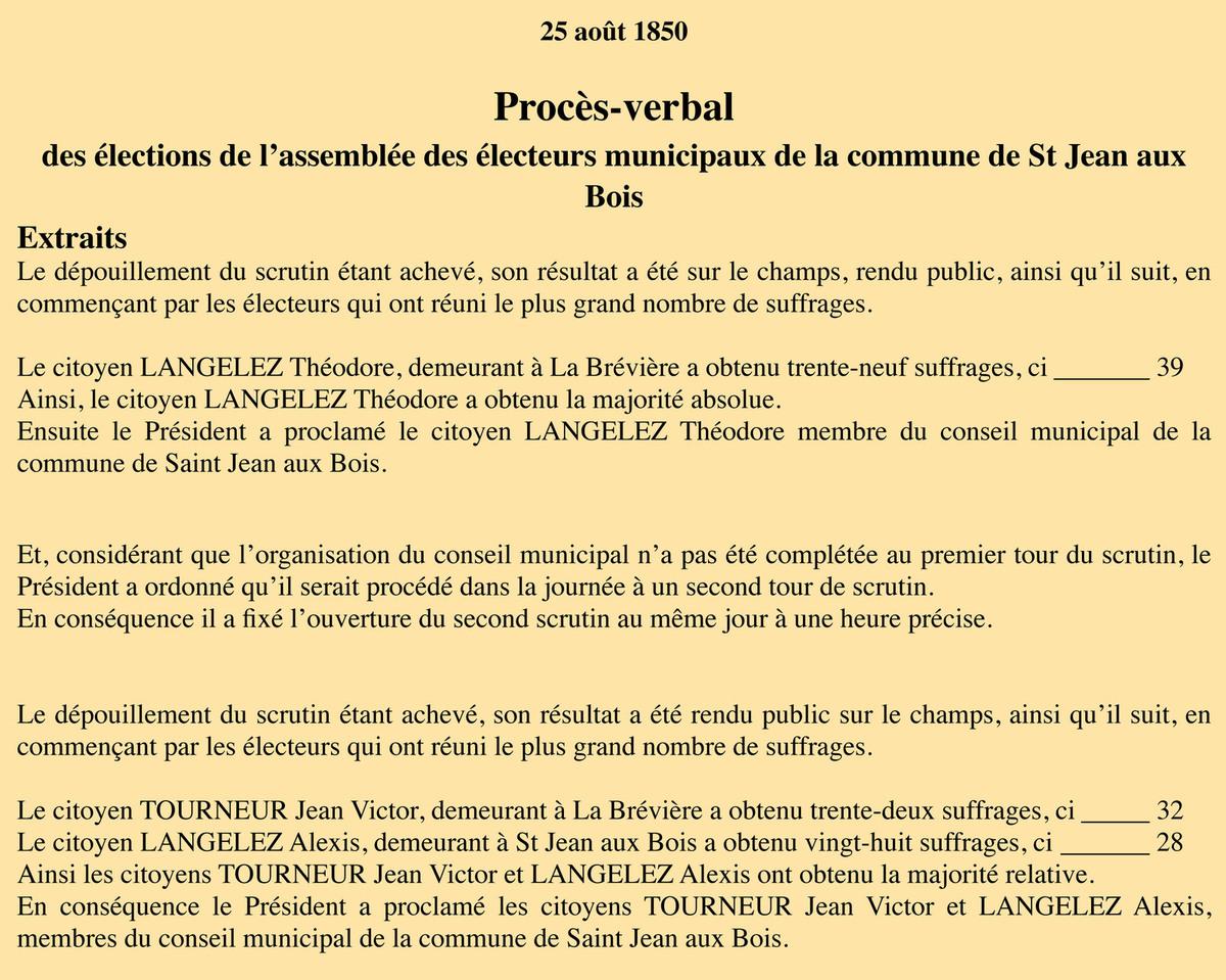 Extrait du P.V. du scrutin de 25 août. Registre des délibérations 1D5.