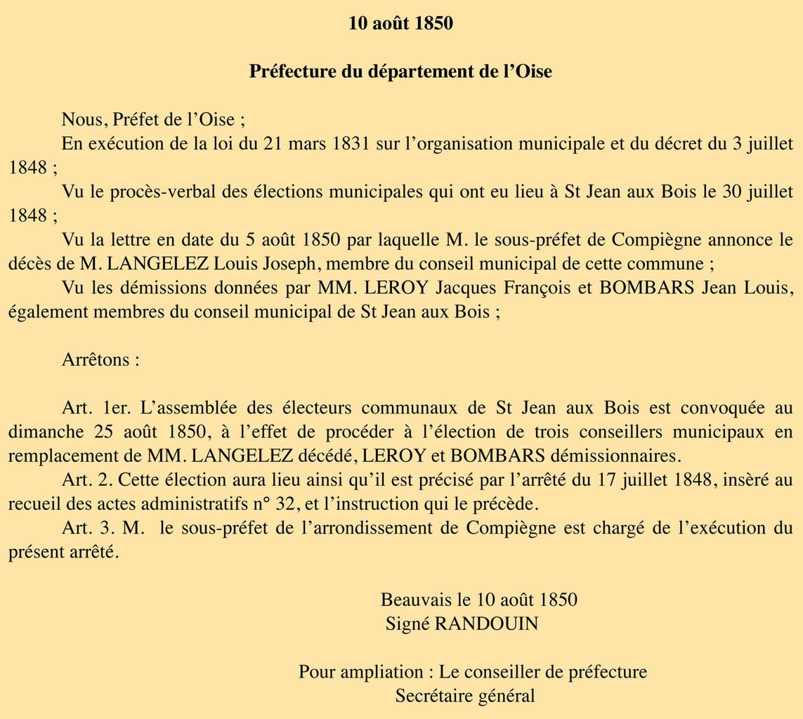 Arrêté du préfet du 10 août 1850. Archives communales Série K élections.