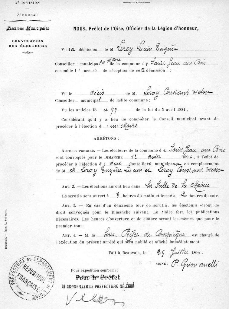Arrêté du préfet - Archives communales Série K.