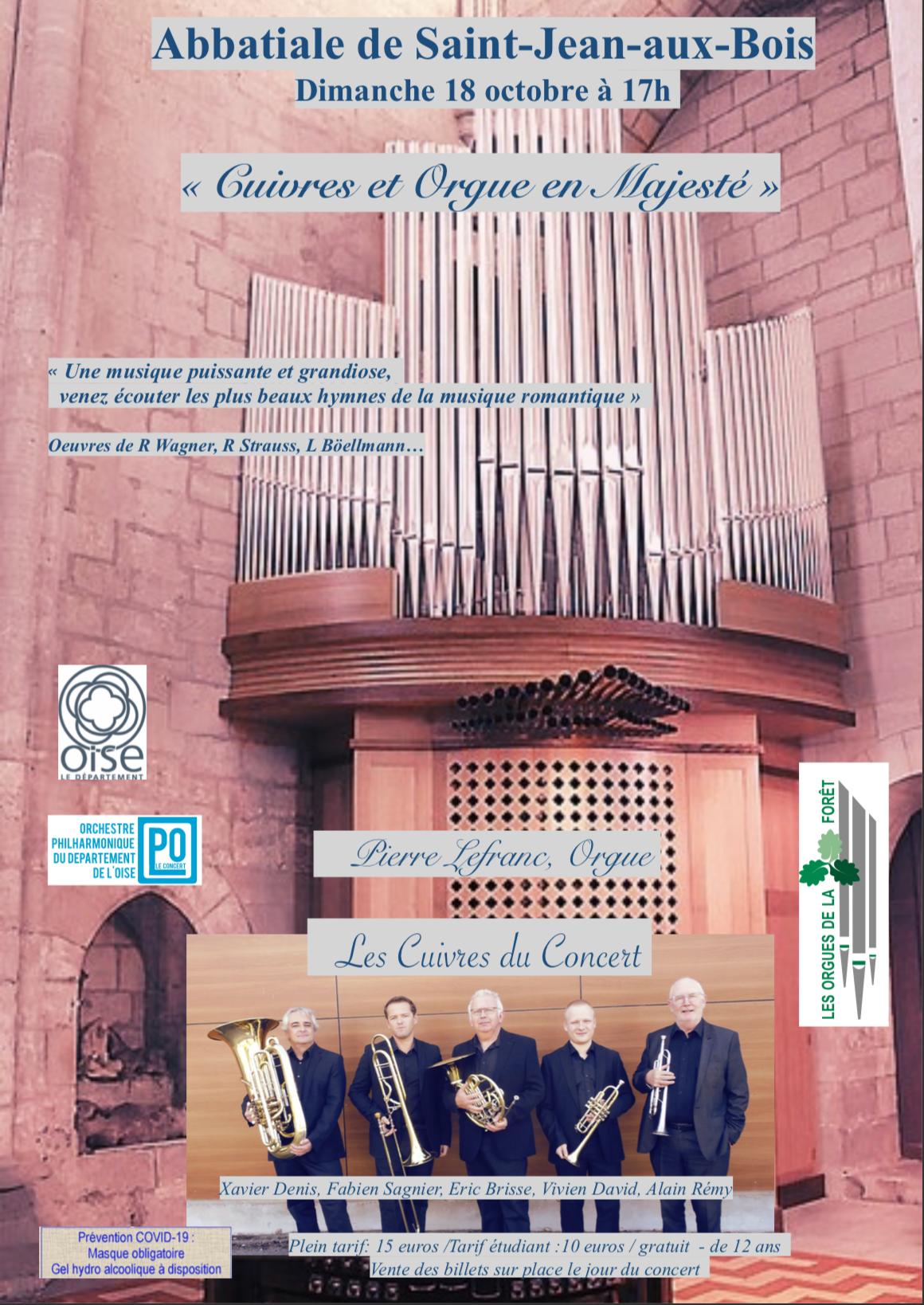 """Concert """"Cuivres et Orgue en Majesté"""" le 18 oct. 2020"""